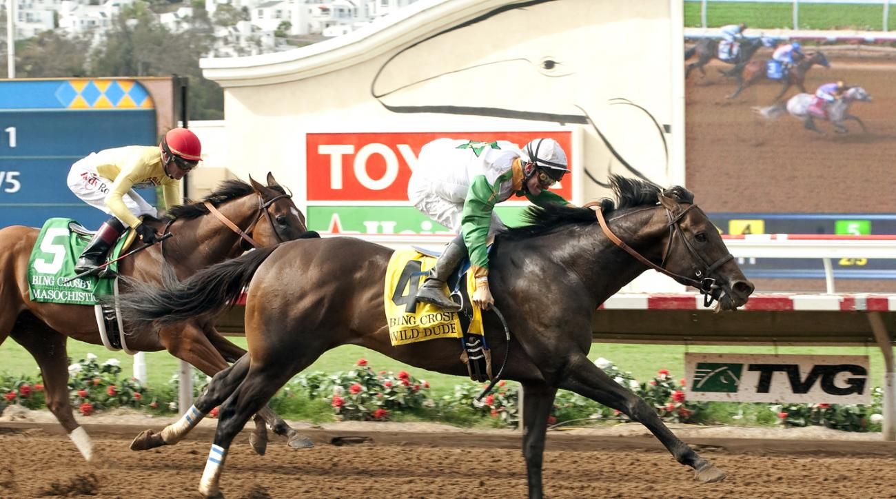 In this photo provided by Benoit Photo, Wild Dude with jockey Flavien Prat, right, win the Grade I $300,000 Bing Crosby Stakes horse race in Del Mar, Calif., Sunday, July 26, 2015. (Benoit Photo via AP)