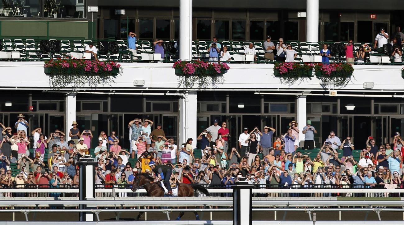 Fans watch Triple Crown winner American Pharoah with Jorge Alvarez up training at Monmouth Park in Oceanport, N.J., Friday, July 31, 2015. American Pharoah is preparing for Sunday's running of the Haskell Invitational horse race. (AP Photo/Mel Evans)