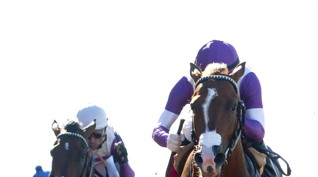 In a photo provided by Benoit Photo, Mrazek, right, with jockey Mario Gutierrez. and Ralis, with Corey Nakatani, finish one-two, respectively, in the $100,000 Graduation Stakes horse race Wednesday, Aug. 5, 2015, at Del Mar Thoroughbred Club in Del Mar, C