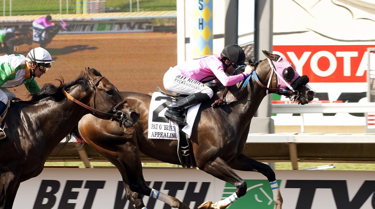 Gary and Cecil Barber's Appealing Tale and jockey Joseph Talamo win the Grade II $250,000 Pat O'Brien Stakes Saturday, Aug. 22, 2015 at the Del Mar Thoroughbred Club in Del Mar, Calif. (Benoit Photo via AP)