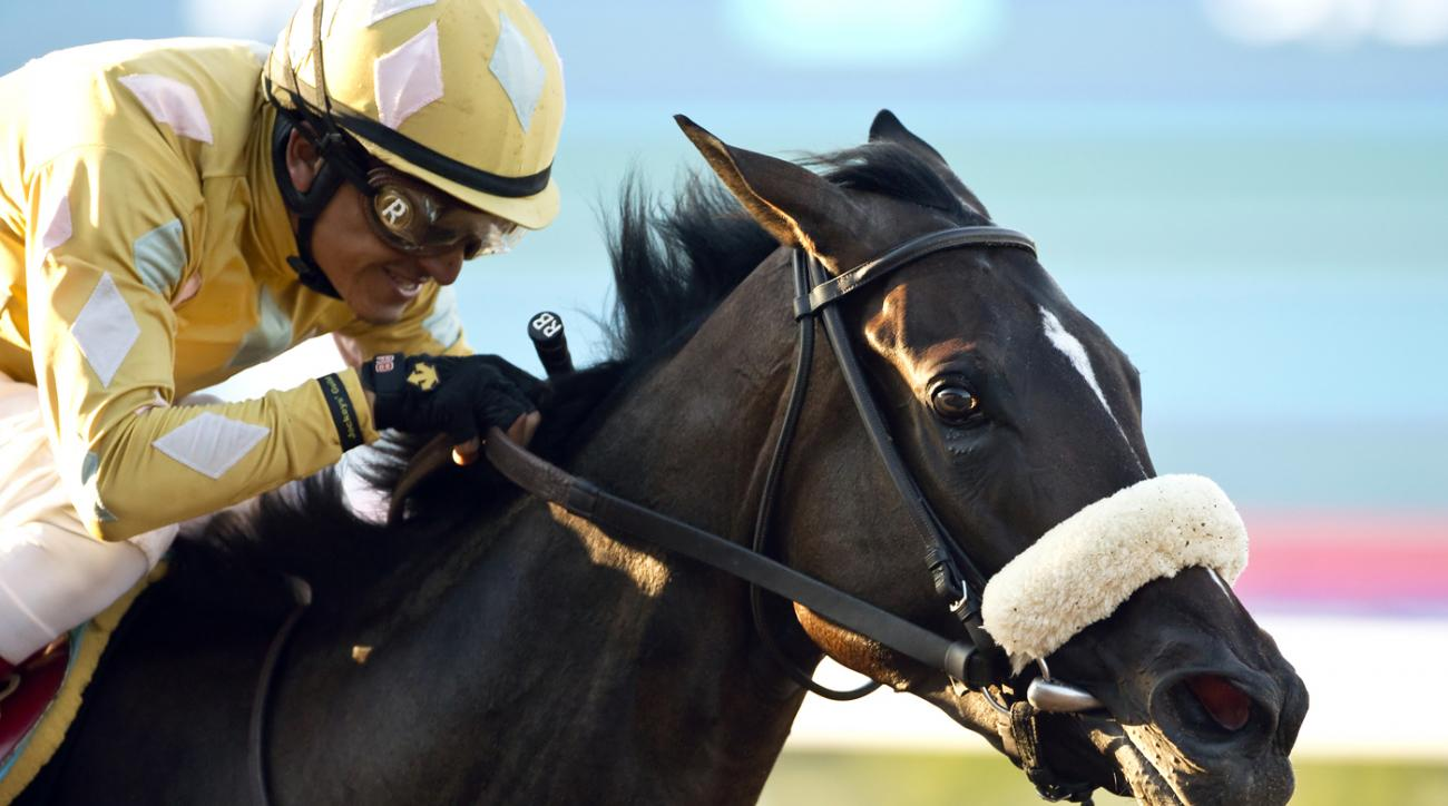 In a photo provided by Benoit Photo, Patriotic Diamond and jockey Rafael Bejarano win the $150,000 Generous Portion Stakes horse race Friday, Aug. 28, 2015, at Del Mar Thoroughbred Club in Del Mar, Calif. (Benoit Photo via AP)