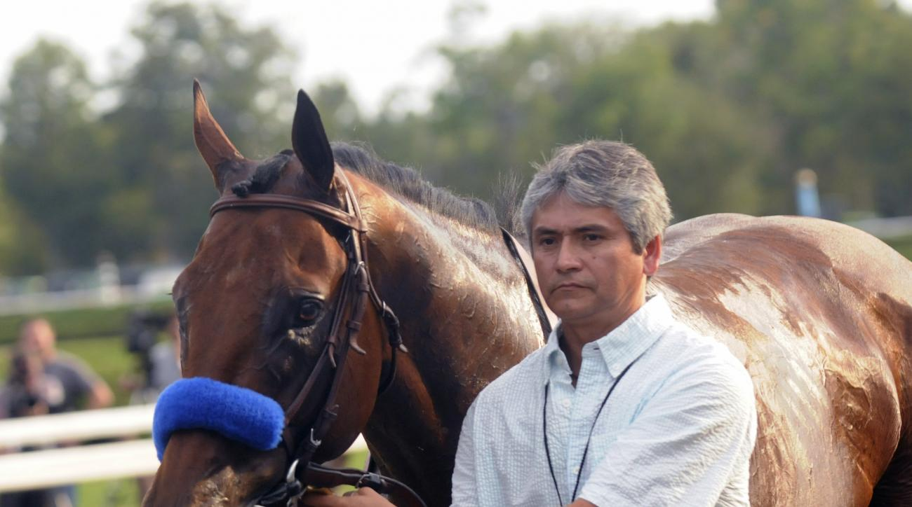 Triple Crown winner American Pharoah is led off the track by a groom after losing the Travers Stakes horse race at Saratoga Race Course in Saratoga Springs, N.Y., Saturday, Aug. 29, 2015. (AP Photo/Hans Pennink)
