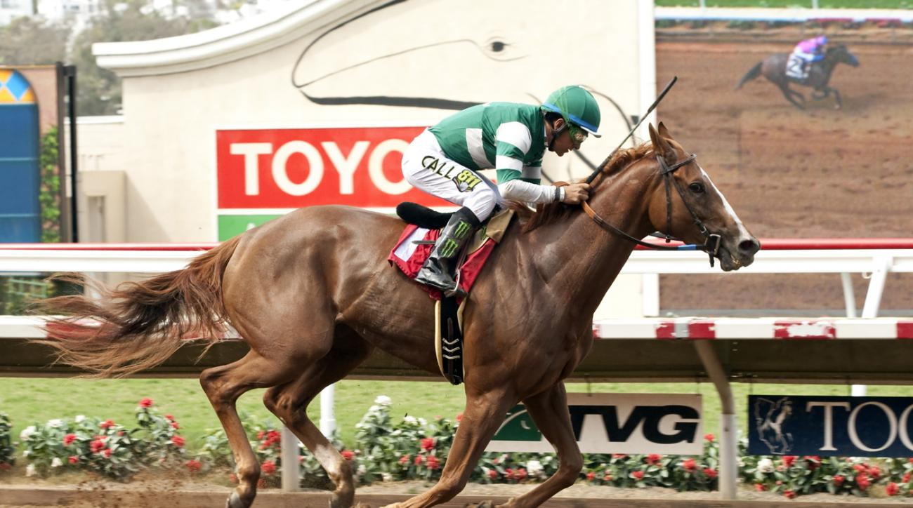 In this image provided by Benoit Photo, Stellar Wind, with Victor Espinoza aboard, wins the Grade III, $100,000 Torrey Pines Stakes horse race Sunday, Aug. 30, 2015, at Del Mar Thoroughbred Club in Del Mar, Calif. (Benoit Photo via AP)