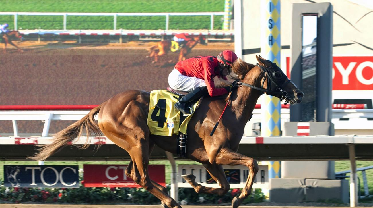 Betty or Robert G. Irvin's Smokey Image and jockey Juan Hernandez win the $150,000 I'm Smokin Stakes, Friday, Sept. 4, 2015 at the Del Mar Thoroughbred Club, in Del Mar, Calif. (Benoit Photo via AP) NO SALES
