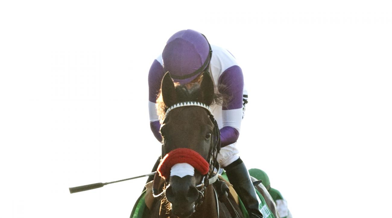 In this image provided by Benoit Photo, Reddam Racing's Nyquist and jockey Mario Gutierrez win the Grade I, $300,000 Del Mar Futurity, Monday, Sept. 7, 2015, at Del Mar Thoroughbred Club in Del Mar, Calif. (Benoit Photo via AP)