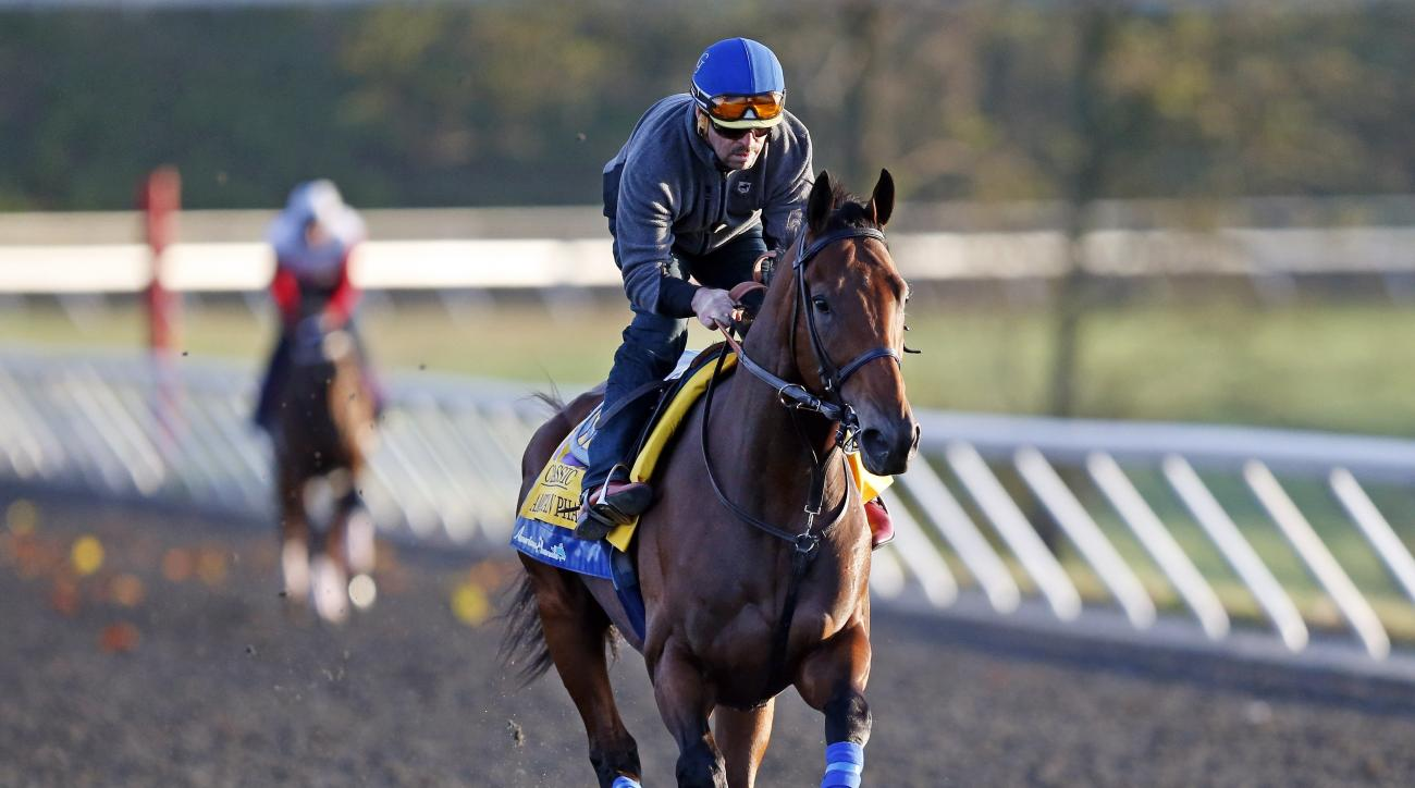 Triple Crown winner American Pharoah is ridden by exercise rider Jorge Alvarez during a workout for the Breeders' Cup horse race at Keeneland race track Thursday, Oct. 29, 2015, in Lexington, Ky. (AP Photo/Brynn Anderson)