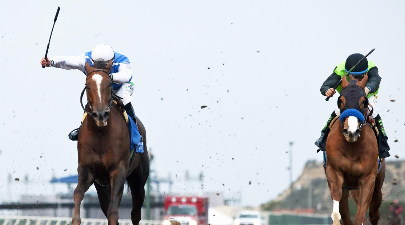 In this photo provided by Benoit Photo, Lucky Folie and jockey Gary Stevens, left, overpower Treasuring (Victor Espinoza) to win the $100,000 Desi Arnaz Stakes, Sunday, November 15, 2015 at the Del Mar Thoroughbred Club, Del Mar, Calif. (Benoit Photo via