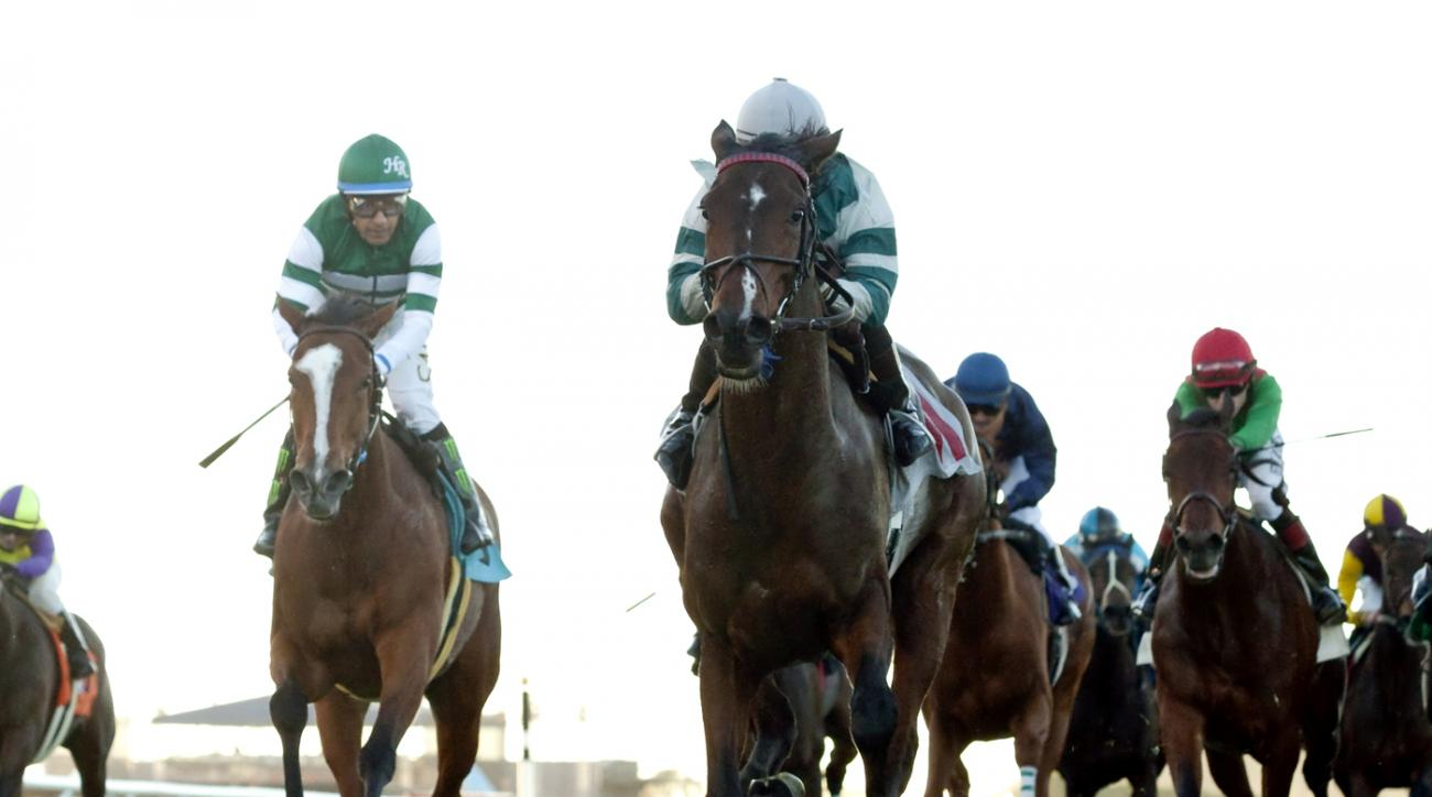 In this photo provided by Benoit Photo, RMJ Stables' Rusty Slipper and jockey Silvestre de Sousa win the Grade III, $100,000 Red Carpet Handicap horse race Saturday, Nov. 21, 2015, at Del Mar Thoroughbred Club in Del Mar, Calif. (Benoit Photo via AP)