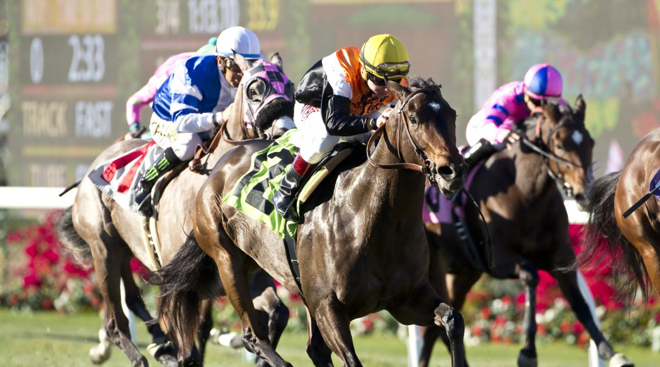 Glen Hill Farm's Family Meeting and jockey Drayden Van Dyke, center, win the Grade III $100,000 Jimmy Durante Stakes Saturday, Nov. 28, 2015 at Del Mar Thoroughbred Club in Del Mar, Calif. (Benoit Photo via AP) NO SALES