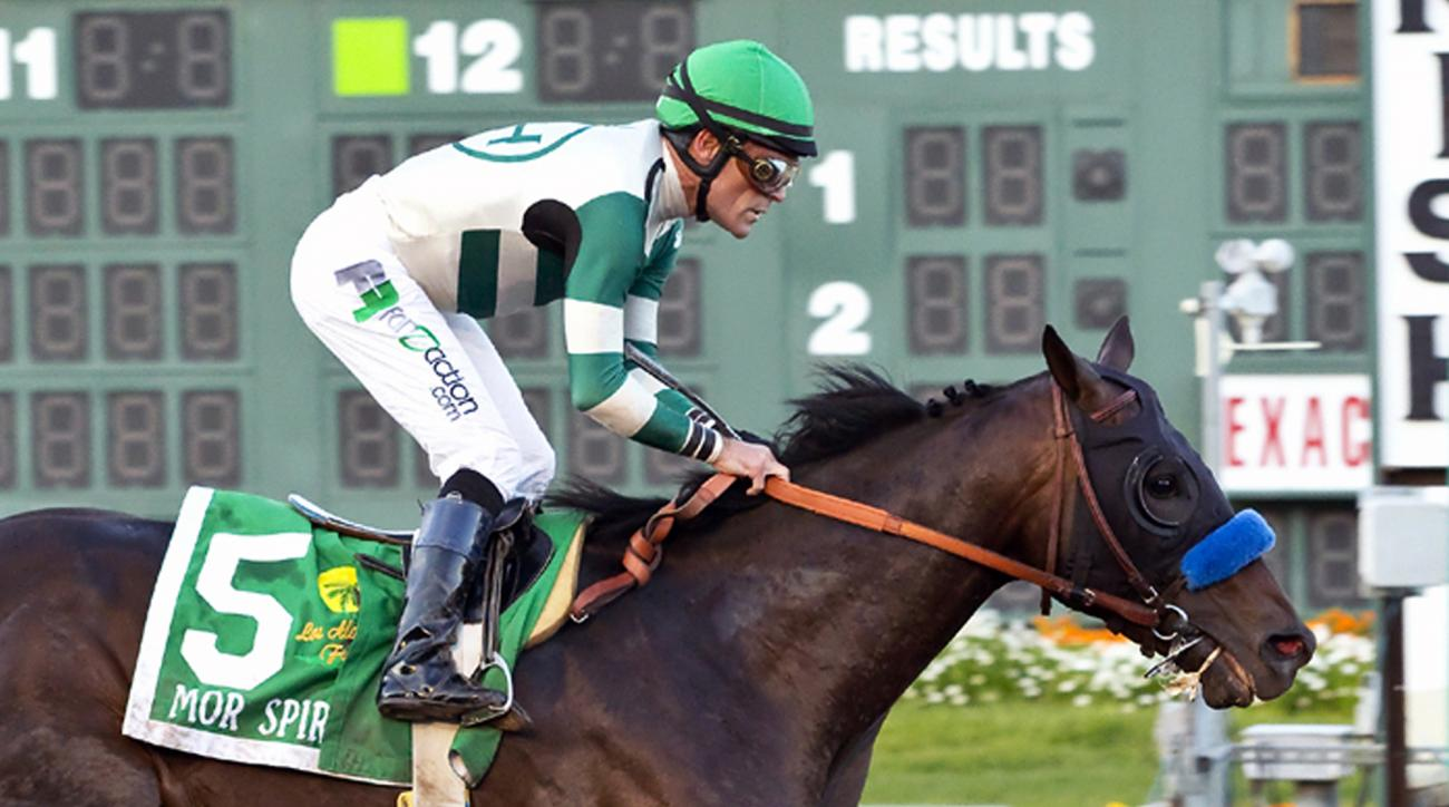 FILE - In this Dec. 19, 2015, file photo, provided by Benoit Photo, Mor Spirit, with Gary Stevens wins the Grade I, $350,000 Los Alamitos Futurity horse race at Los Alamitos Race Course in Cypress, Calif. The Robert B. Lewis Stakes on Saturday, Feb. 6, 20
