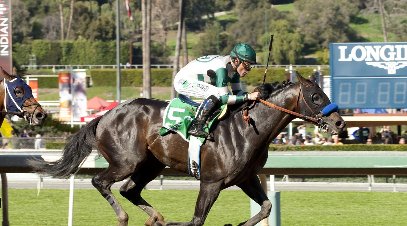 Mor Spirit and jockey Gary Stevens win the Grade II $150,000 Robert B. Lewis Stakes Saturday, February 6, 2016 at Santa Anita Park in Arcadia, Calif. (Benoit Photo via AP) NO SALES
