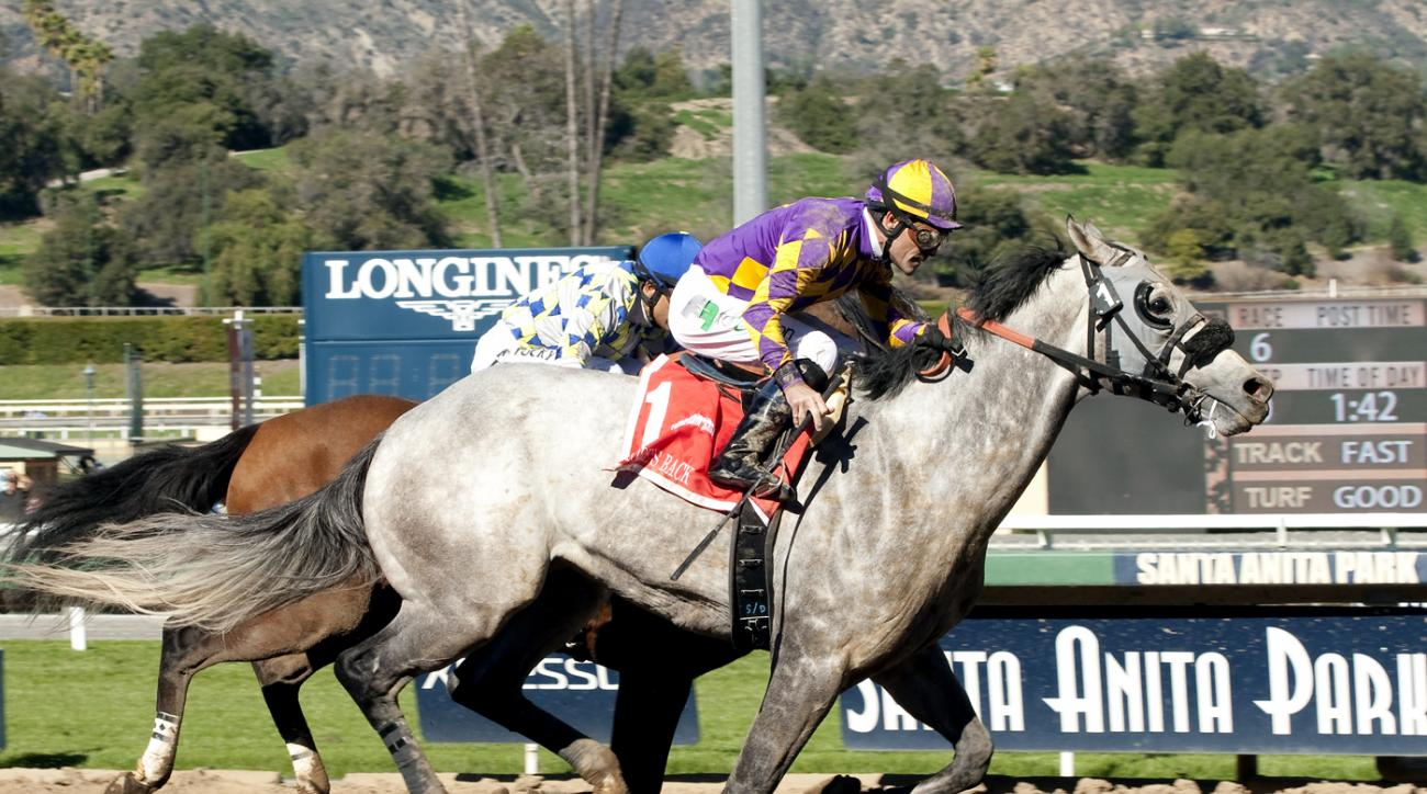 In this image provided by Benoit Photo, Kobe's Back, foreground, with Gary Stevens aboard, overtakes Salutos Amigos, with Rafael Bejarano aboard, for victory in the Grade II $200,000 Palos Verdes Stakes horse race Sunday, Feb. 7, 2016, at Santa Anita Park
