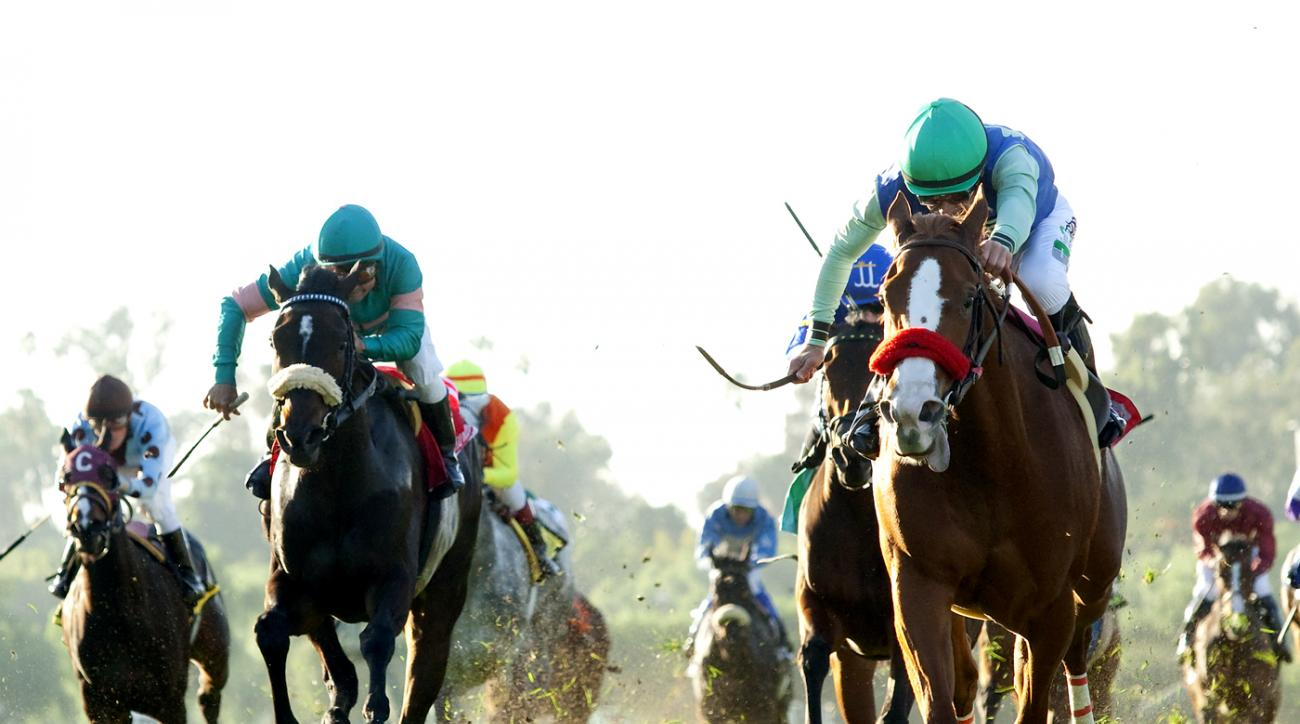 In this photo provided by Benoit Photo, Paulina's Love and jockey Gary Stevens, right, hold off Keri Bell (Alex Solis), left, to win the Grade II $200,000 Buena Vista Stakes Saturday, Feb. 20, 2016 at Santa Anita Park, in Arcadia, Calif. (Benoit Photo via