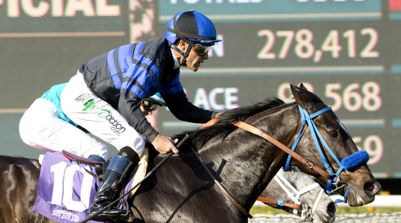 In this photo provided by Benoit Photo, Boozer and jockey Gary Stevens, outside, overpower Richard's Kid (Flavien Prat), inside, to win the $100,000 Sensational Star Stakes, Saturday, Feb. 27, 2016, at Santa Anita Park, in Arcadia, Calif. (Benoit Photo vi