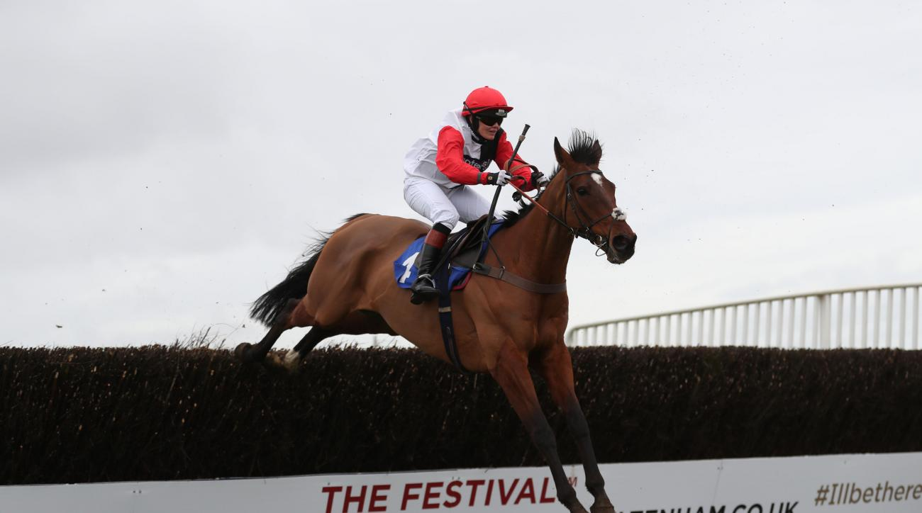 Victoria Pendleton on Pacha Du Polder winning the Switching Saddles Hunter Chase at Wincanton Racecourse, Southwest England, Wednesday March 2, 2016. Olympic cycling champion Victoria Pendleton has earned her first win as a jockey, setting her up for a li