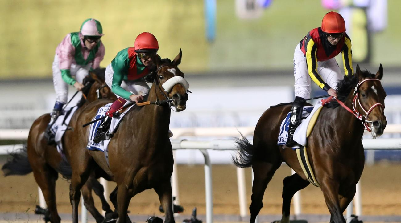 Japanese horse Real Steel ridden by Ryan Moore crosses the finish line to win the U.S. $ 6,000,000 Dubai Turf of the Dubai World Cup horse racing at the Meydan Racecourse in Dubai, United Arab Emirates, Saturday, March 26, 2016.  (AP Photo/Kamran Jebreili