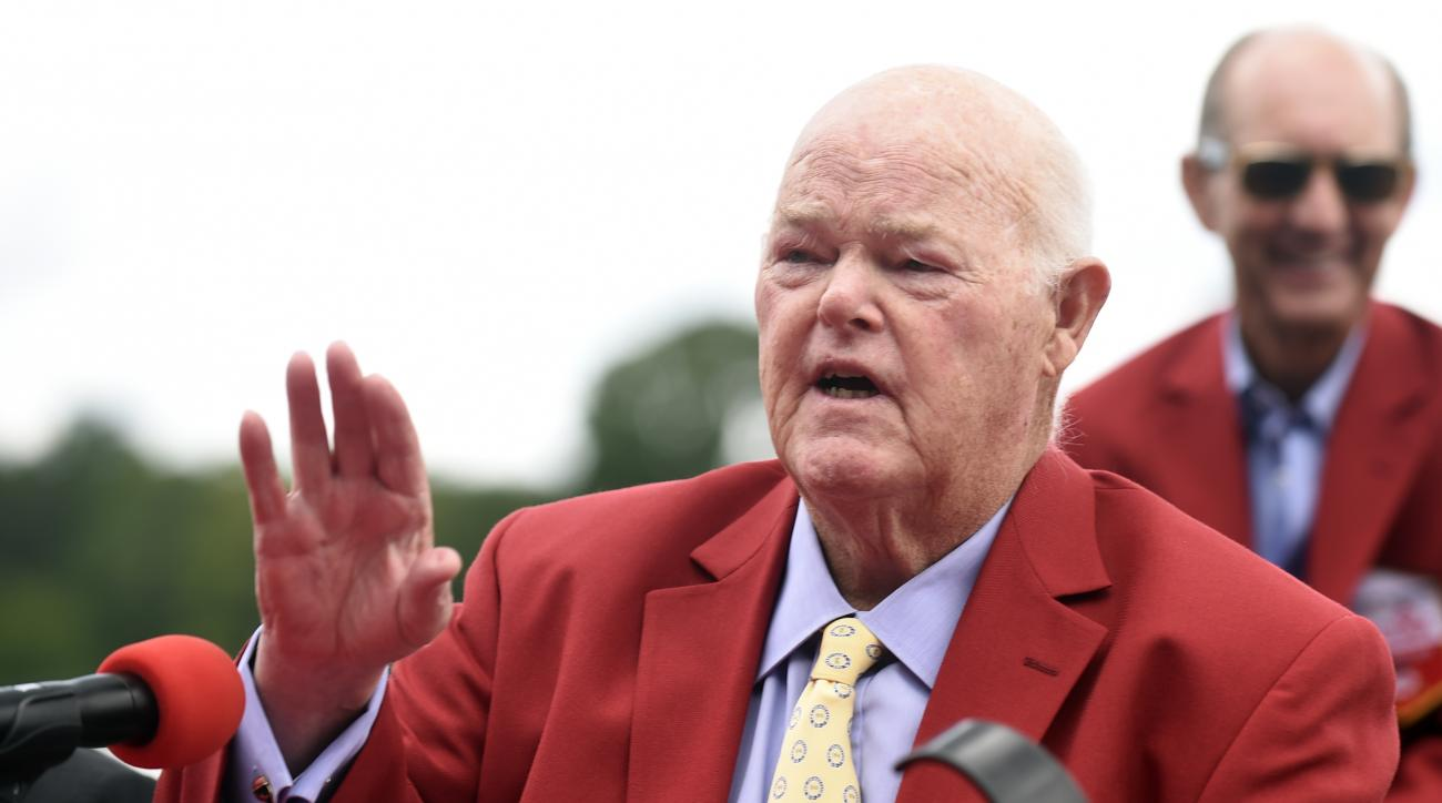 FILE - In this Aug. 28, 2015, file photo, Ogden Mills Dinny Phipps of Phipps Stable talks to reporters after being inducted into the New York Racing Association 2015 Saratoga Walk of Fame during the annual Red Jacket Ceremony at Saratoga Race Course in Sa