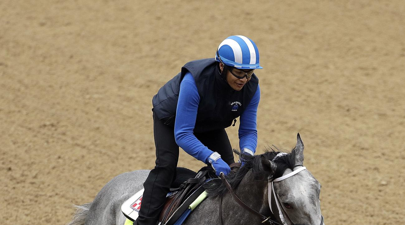 Exercise rider Miguel Jamie rides Kentucky Derby hopeful Mohaymen during a workout at Churchill Downs Tuesday, May 3, 2016, in Louisville, Ky. The 142nd running of the Kentucky Derby is scheduled for Saturday, May 7. (AP Photo/Charlie Riedel)