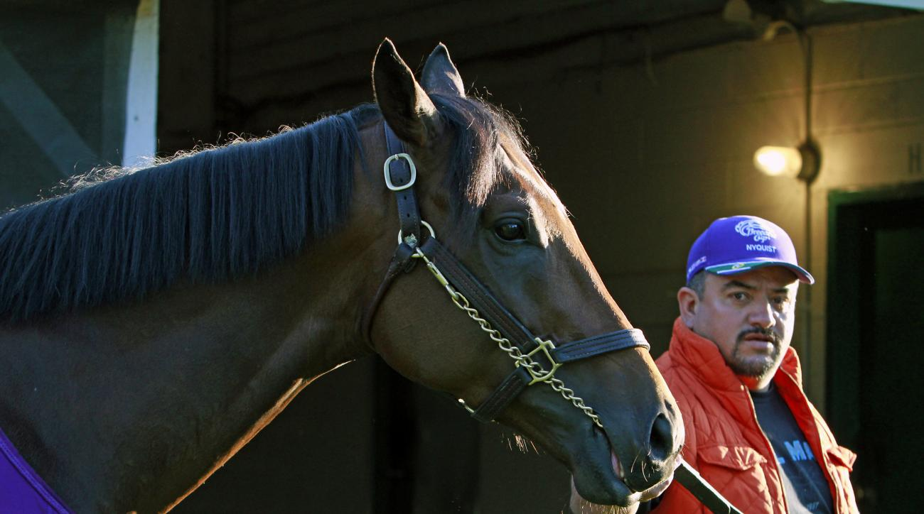 """Fernel """"Lefty"""" Serrano, right, leads Kentucky Derby hopeful Nyquist back to Barn 41 at Churchill Downs in Louisville, Ky., Wednesday, May 4, 2016 following the horse's bath. The 142nd Kentucky Derby is Saturday, May 7. (AP Photo/Garry Jones)"""