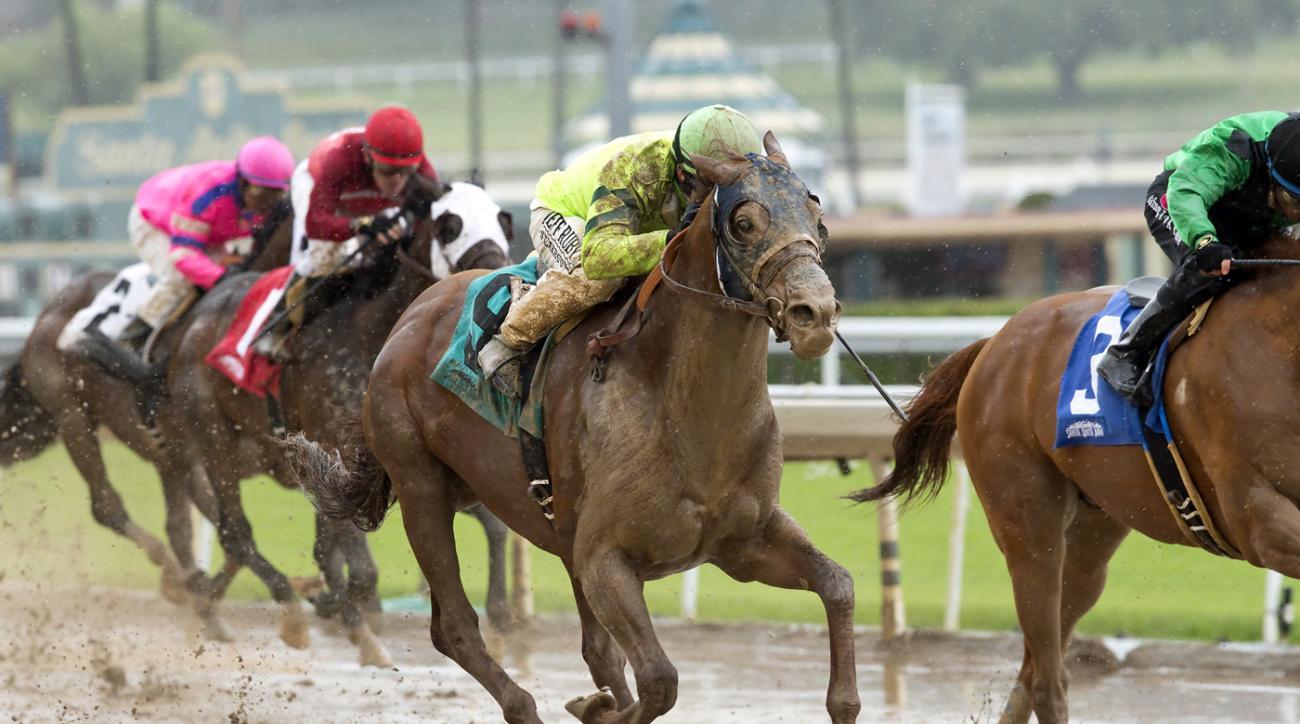This photo provided by Benoit Photo shows Tarabilla Farms' Home Run Kitten and jockey Joseph Talamo winning the Grade III, $100,000 American Stakes, Friday, May 6, 2016 at Santa Anita Park in Arcadia, Calif. (Benoit Photo via AP)