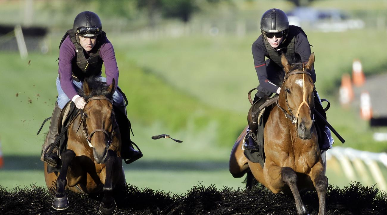 Ruby Walsh rides Nichols Canyon, left, and Danny Mullins rides Shaneshill during a morning workout Friday, May 13, 2016, in preparation for the Iroquois Steeplechase scheduled to be run Saturday, May 14, in Nashville, Tenn. Champion Irish trainer Willie M