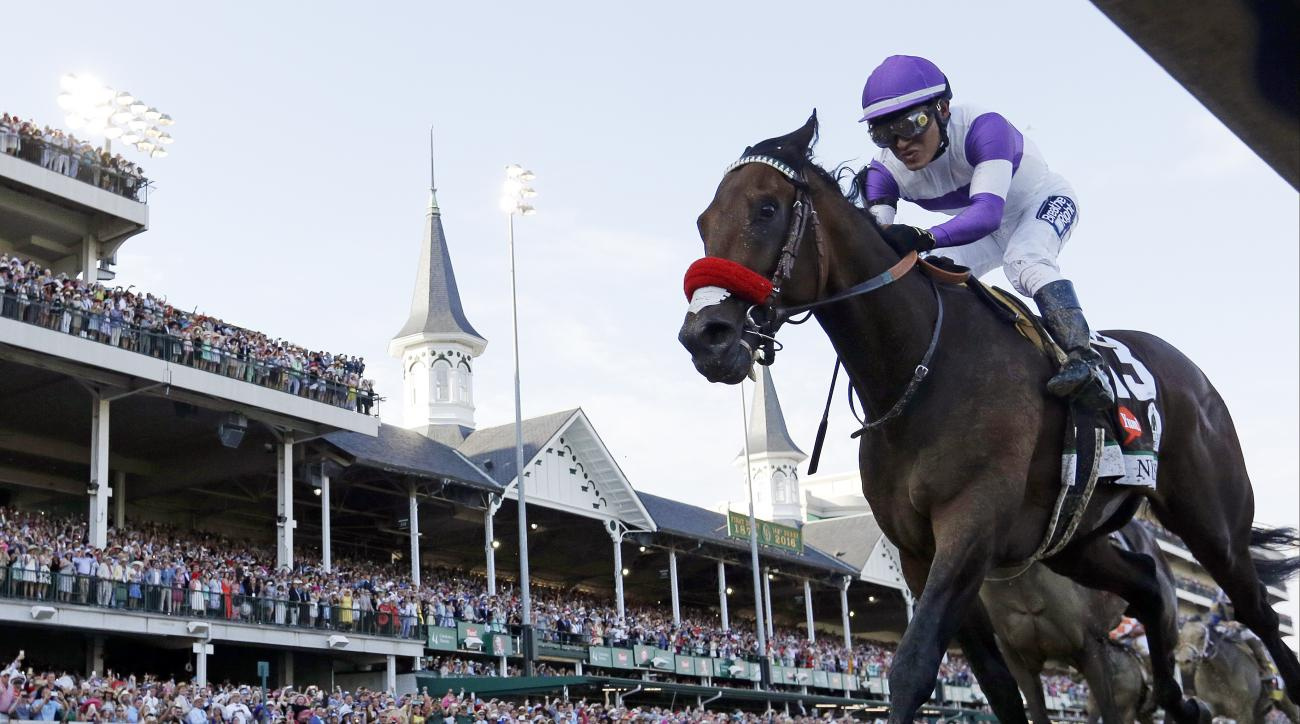 FILE - In this May 7, 2016, file photo, Mario Gutierrez rides Nyquist to victory during the 142nd running of the Kentucky Derby horse race at Churchill Downs in Louisville, Ky. Happy, healthy and hangin' in his new home, Kentucky Derby winner Nyquist is g