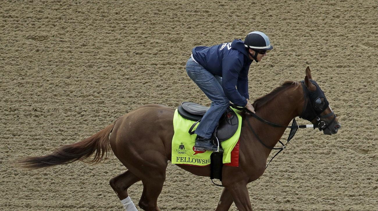 FILE - In this May 4, 2016, file photo, exercise rider Brian O'Leary rides Kentucky Derby hopeful Fellowship during a workout at Churchill Downs in Louisville, Ky. Fellowship, who ran third behind Nyquist in the Florida Derby, is looking for an upset in t