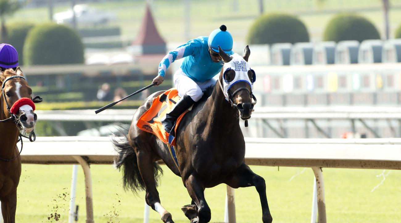 In this image provided by Benoit Photo, I Will Score, right, with Martin Garcia aboard, outlegs Mrazek, with Mario Gutierrez aboard, to win the Grade III, $100,000 Lazaro Barrera Stakes horse race Saturday, May 14, 2016, at Santa Anita Park in Arcadia, Ca
