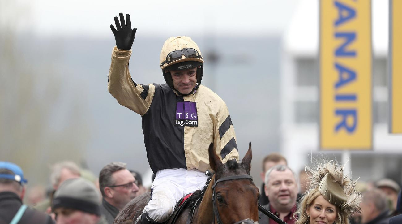 Nichols Canyon with Ruby Walsh up, celebrates winning the Stayers' Hurdle event during St Patrick's day racing at the 2017 Cheltenham Festival at Cheltenham, England, Thursday March 16, 2017. (David Davies/PA via AP)