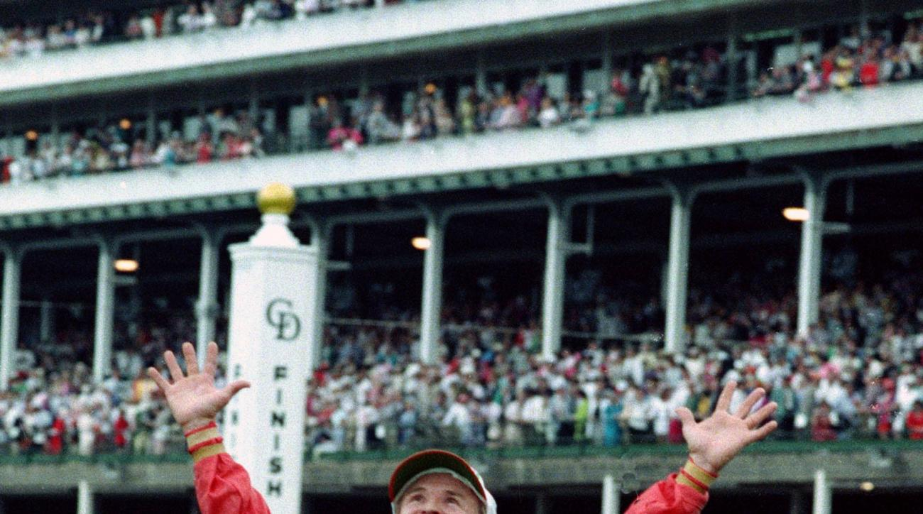 FILE - In this May 2, 1992, file photo, jockey Pat Day gestures skyward after riding Lil E. Tee to victory in the 118th running of the Kentucky Derby at Churchill Downs in Louisville, Ky. Of all the things in his Hall of Fame career, jockey Pat Day consid