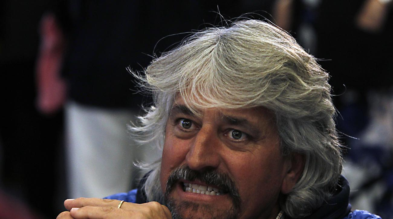 Trainer Steve Asmussen talks about the Kentucky Derby draw and his trio of entrants after the post position draw at Churchill Downs in Louisville, Ky., Wednesday, May 3, 2017. (AP Photo/Garry Jones)