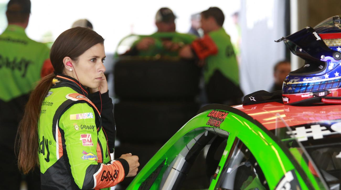 Sprint Cup Series driver Danica Patrick (10) prepares to practice for the NASCAR Brickyard 400 auto race at Indianapolis Motor Speedway in Indianapolis, Friday, July 24, 2015. (AP Photo/R Brent Smith)