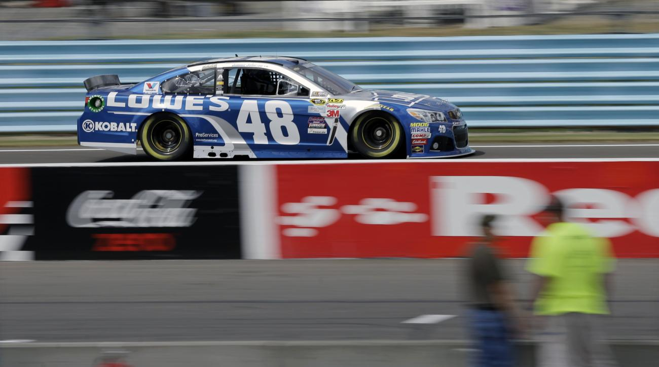 Jimmie Johnson (48) drives during practice for Sunday's NASCAR Sprint Cup series auto race at Watkins Glen International, Friday, Aug. 7, 2015, in Watkins Glen, N.Y. (AP Photo/Mel Evans)