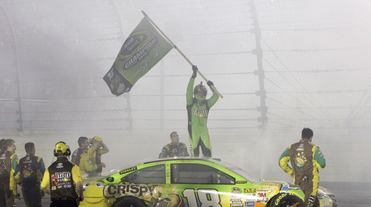 Kyle Busch (18) celebrates after winning the NASCAR Sprint Cup Series auto race and the season title Sunday, Nov. 22, 2015, at Homestead-Miami Speedway in Homestead, Fla. (AP Photo/Darryl Graham)