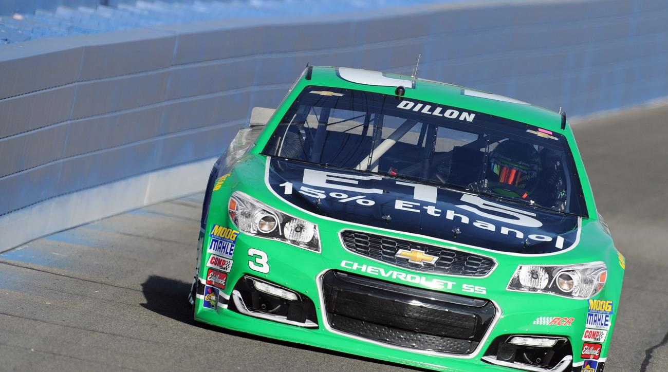 Pole winner Austin Dillon enters Turn 3 during the opening qualifying session Friday, March 18, 2016, for the NASCAR auto race at Auto Club Speedway in Fontana, Calif. (AP Photo/Will Lester)