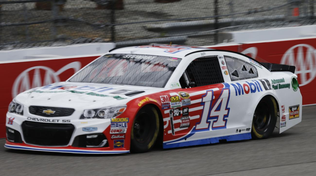 Tony Stewart (14) drives during practice for Sunday's NASCAR Sprint Cup auto race at Richmond International Raceway in Richmond, Va., Friday, April 22, 2016. Stewart is making his return to Sprint Cup racing after a preseason injury. (AP Photo/Steve Helbe