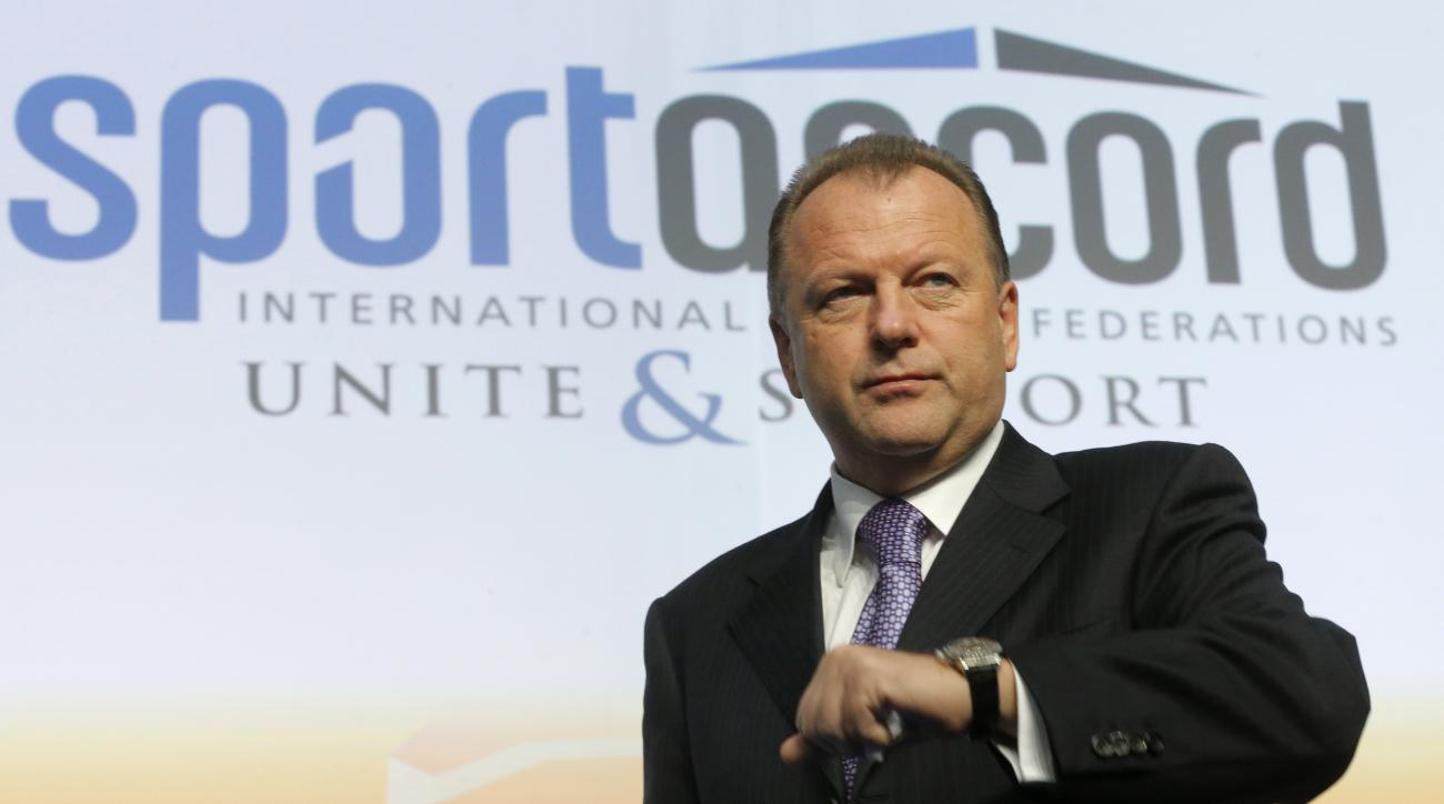FILE - In this Friday, May 31, 2013 file photo, Marius Vizer, president of the International Judo Federation, (IJF) attends the SportAccord International Convention in St. Petersburg, Russia. The IOC has withdrawn its recognition and funding for SportAcco