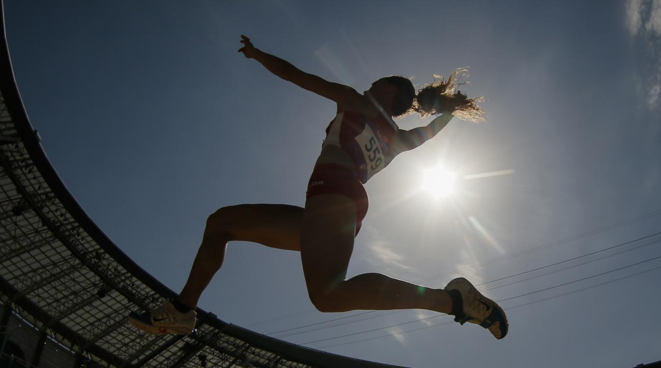 Rebecca Camilleri of Malta competes during the women's long jump event at the 2015 European Games in Baku, Azerbaijan, Monday, June 22, 2015. (AP Photo/Dmitry Lovetsky)