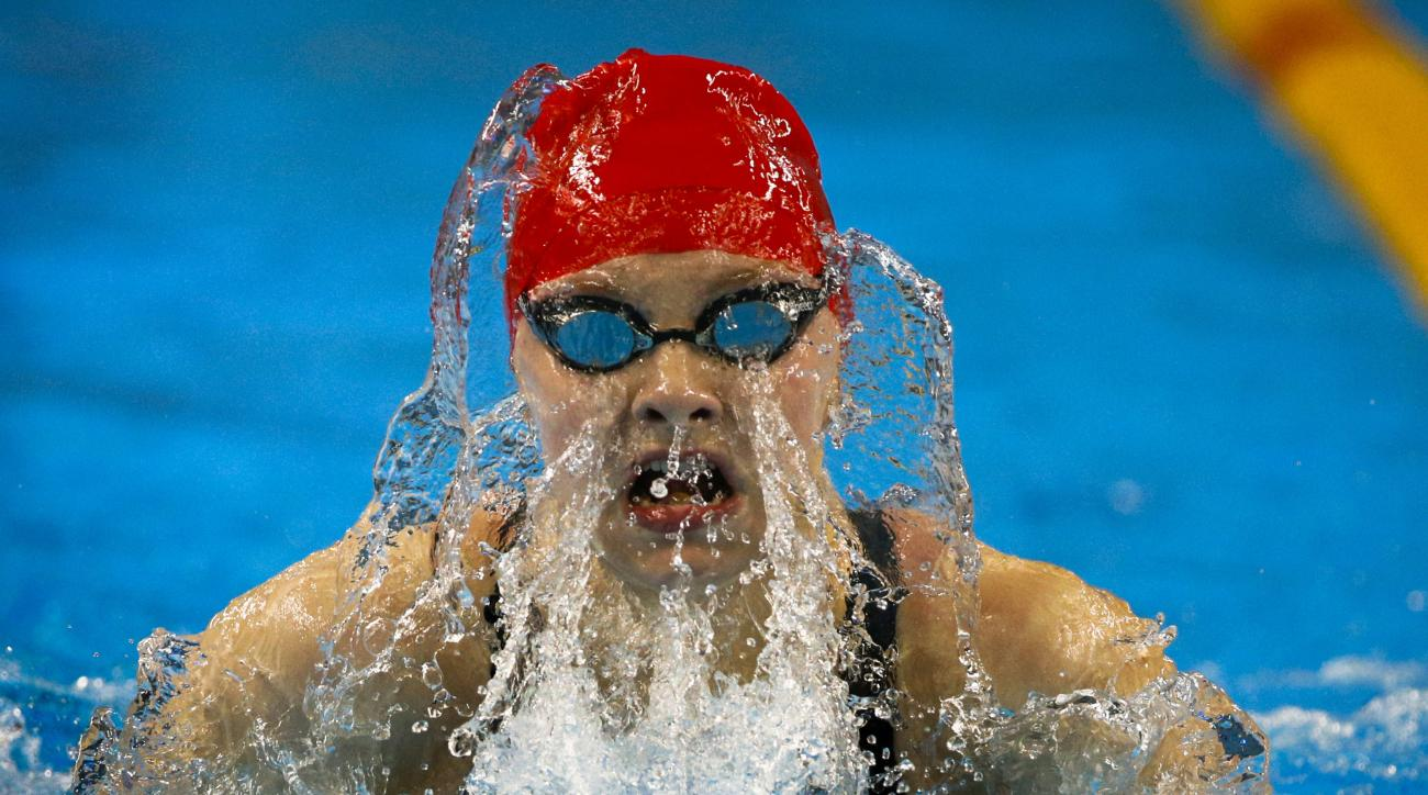 Emma Cain of Great Britain competes during swimming women's 50m breaststroke  event at the 2015 European Games in Baku, Azerbaijan, Tuesday, June 23, 2015. (AP Photo/Dmitry Lovetsky)