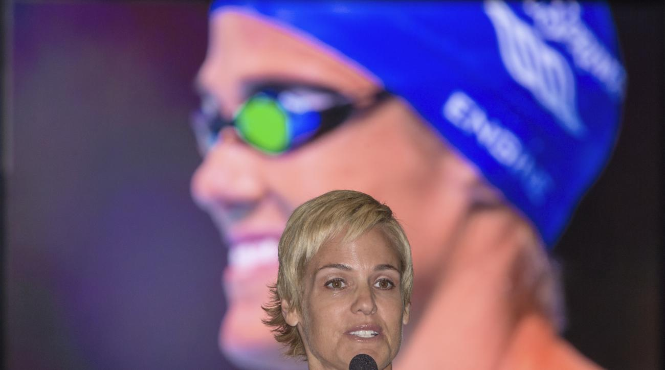 Five-time Olympian Dara Torres speaks to the media during a news conference promoting the 2016 U.S. Olympic Trials, Monday, June 29, 2015, at CenturyLink Arena in Omaha, Neb., the site of her last competitive swim event. The trials will be held for the th