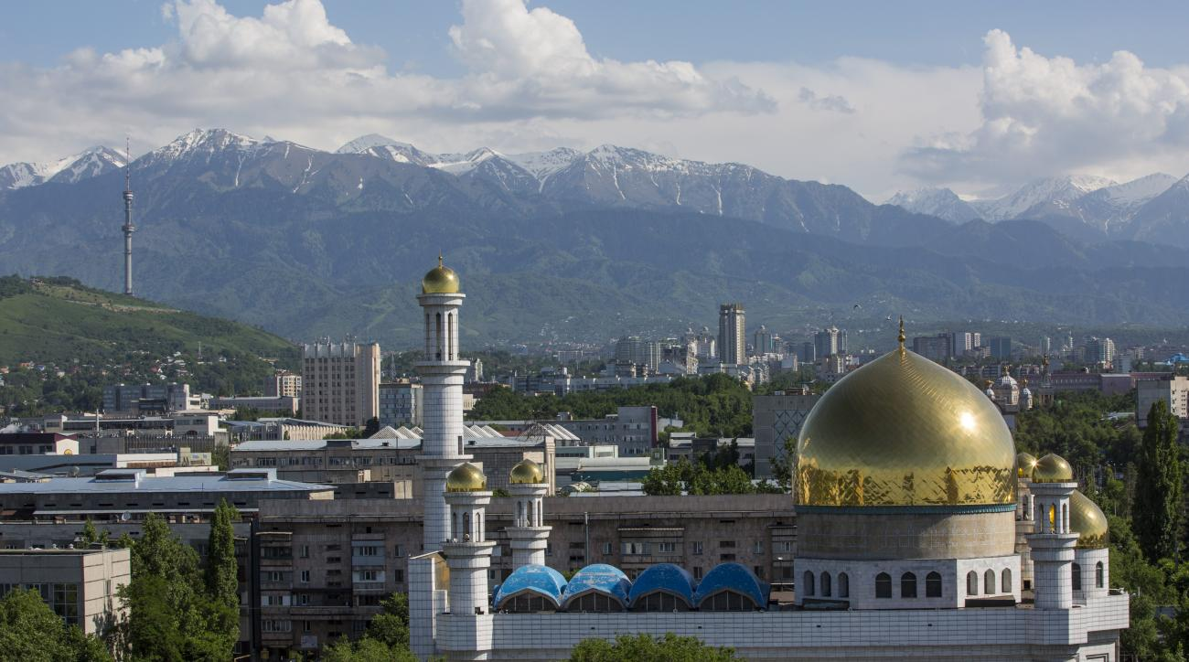 FOR STORY 2022 BID - This photo taken on Friday, May  29, 2015, shows a central mosque in Almaty, Kazakhstan.  The ex-Soviet nation of Kazakhstan in Central Asia will be the first majority-Muslim country to host an Olympics if Almaty defeats its rival, Be
