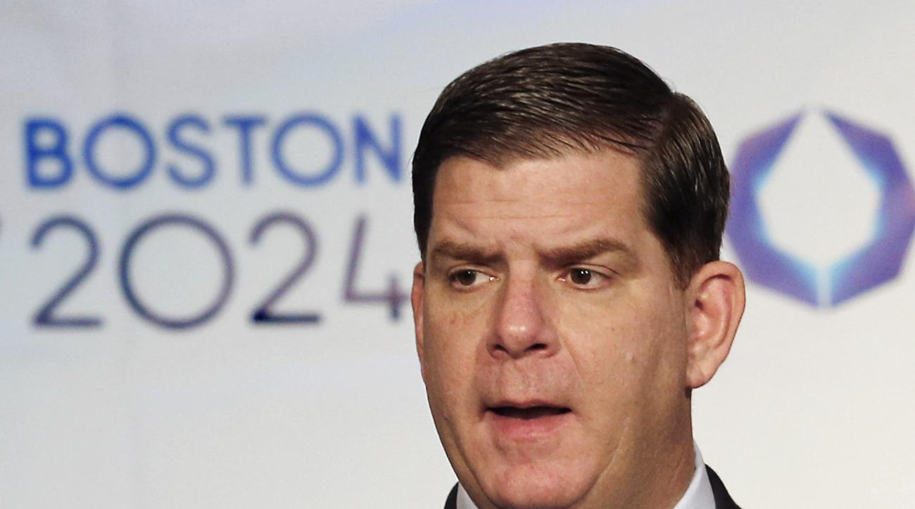 FILE - In this Jan. 9, 2015, file photo, Boston Mayor Martin Walsh speaks during a news conference in Boston after the city was picked by the USOC as its bid city for the 2024 Olympic Summer Games. Walsh said Monday, July 27, 2015, he won't sign a host ci