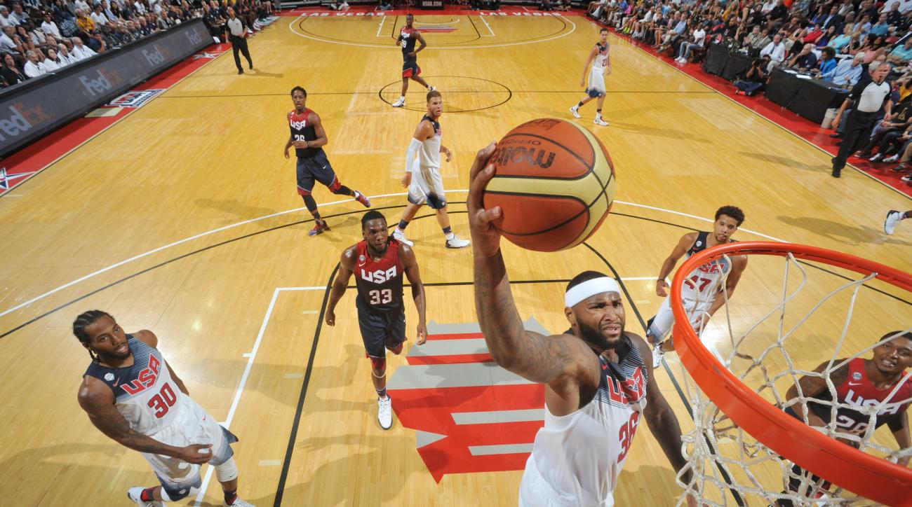 LAS VEGAS, NV - AUGUST 13: DeMarcus Cousins #36 of USA White goes up for a dunk against USA Blue during Team USA Basketball Showcase on August 13, 2015 at the Thomas & Mack Center in Las Vegas, Nevada. (Photo by Garrett Ellwood/NBAE via Getty Images)
