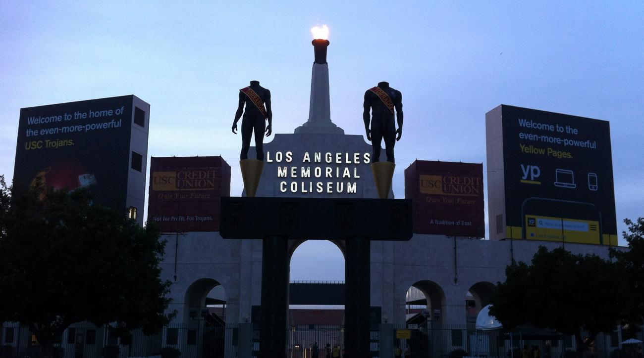 This photo taken Nov. 29, 2014, shows the facade of the Los Angeles Memorial Coliseum in Los Angeles. The U.S. Olympic Committee on Tuesday, Sept. 1, 2015, named Los Angeles as its candidate for the 2024 Games, replacing Boston's soured bid and marking a