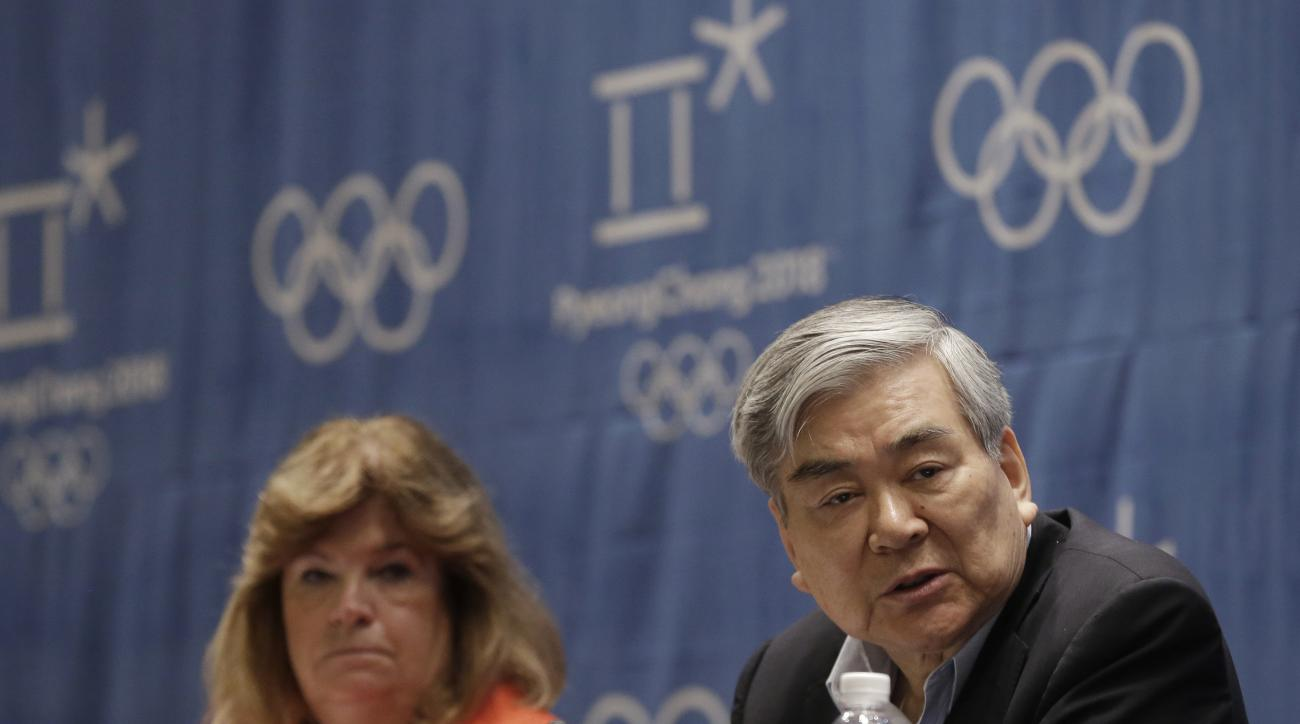 Cho Yang-ho, right, president of the Pyeongchang 2018 Winter Olympics Organizing Committee, and Gunilla Lindberg, chair of the IOC coordination commission for the 2018 Winter Games in Pyeongchang, listen to a reporter's questions during a press conference