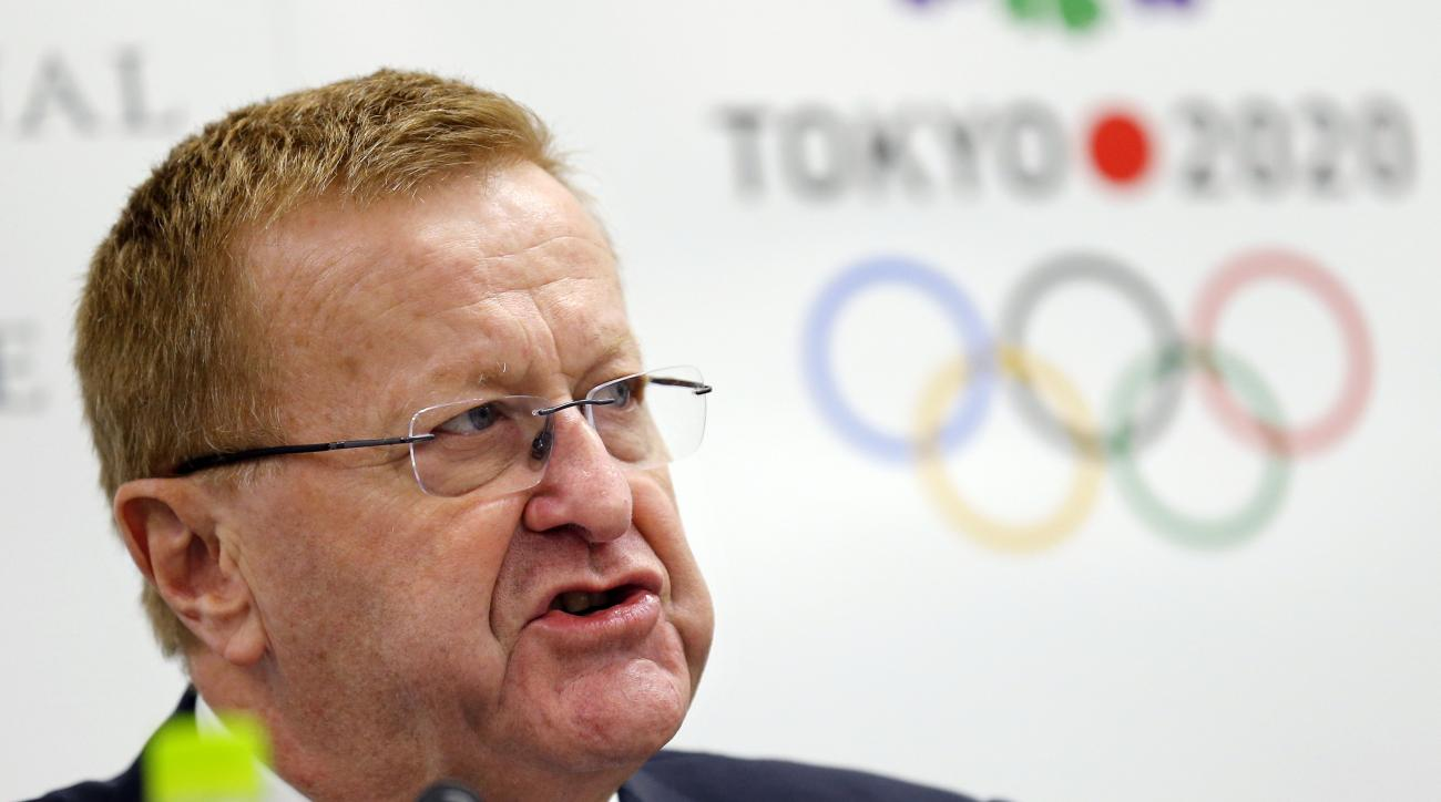 International Olympic Committee (IOC) Vice President John Coates speaks during a press conference for the IOC - Tokyo 2020 4th Project Review for the Olympic Games Tokyo 2020 in Tokyo, Wednesday, Oct. 14, 2015. (AP Photo/Shizuo Kambayashi)