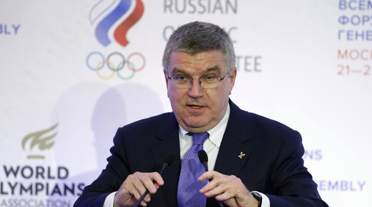 FILE - In this Wednesday, Oct. 21, 2015 file photo, International Olympic Committee (IOC) President Thomas Bach speaks at  the World Olympians Forum in Moscow, Russia. IOC President Thomas Bach expressed confidence Sunday Nov. 15, 2015, in the ability of