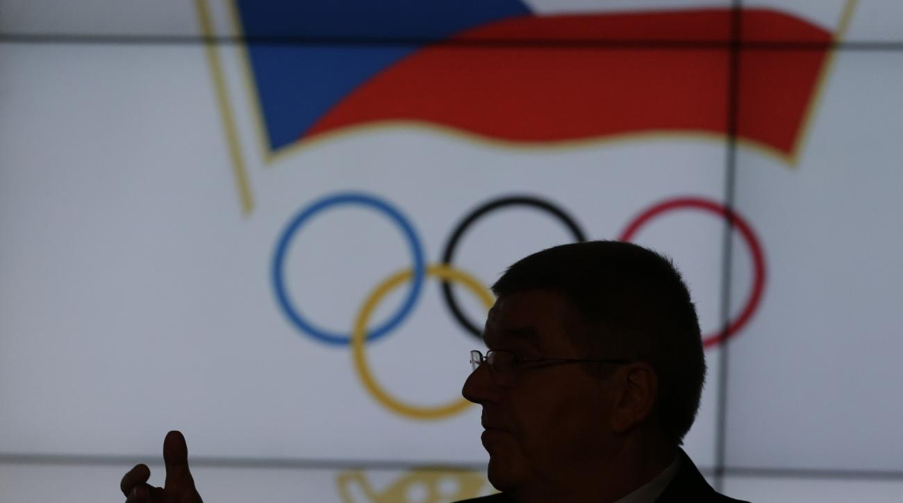 International Olympic Committee president Thomas Bach holds a speech during the 44th European Olympic Committee general assembly in Prague, Czech Republic, Friday, Nov. 20, 2015. (AP Photo/Petr David Josek)