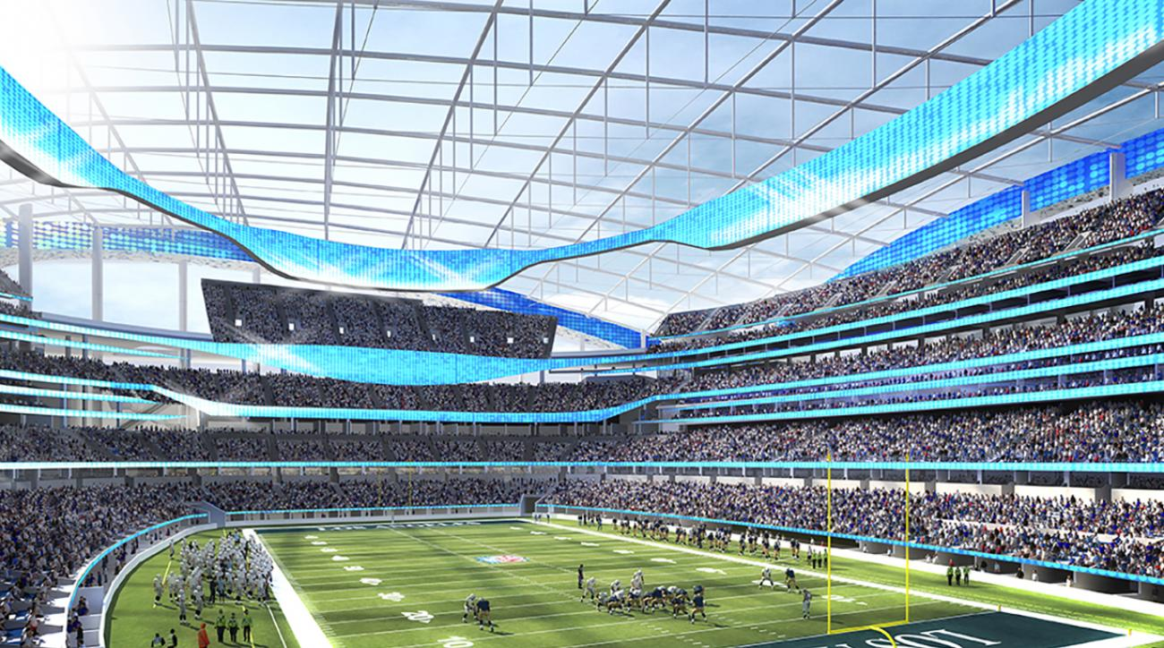 This undated rendering provided by HKS Sports & Entertainment shows a proposed NFL football stadium in Inglewood, Calif. During an NFL owners meeting Tuesday, Jan. 12, 2016, in Houston the owners voted to allow the St. Louis Rams to move to a new stadium