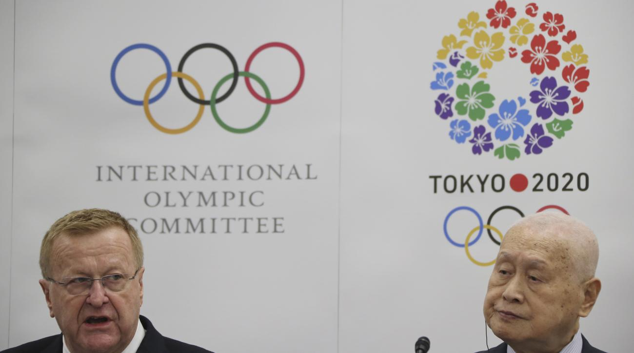 International Olympic Committee (IOC) Vice President and IOC Coordination Commission for Tokyo 2020 Chair John Coates, left, speaks as Tokyo 2020 Olympics President Yoshiro Mori listens during a press conference following the 5th Project Review for the Ol